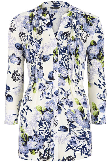 Floral Print Pintuck Detail Top