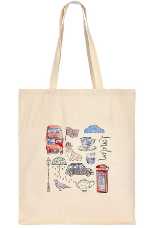 London Print Cotton Shopper Bag