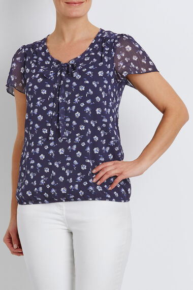 Short Sleeve Tie Neck Printed Chiffon Blouse