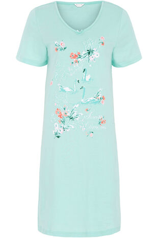 Swan Placement Print Nightshirt