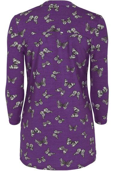 Butterfly Print Pintuck Jersey Shirt