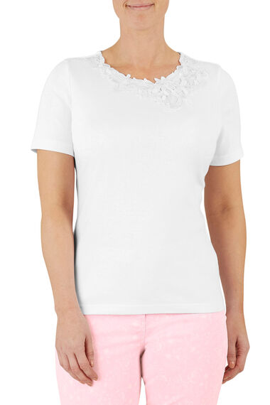 Asymmetric Floral Lace T-Shirt