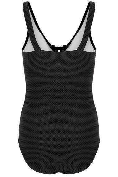 Textured Tie Front Swimsuit