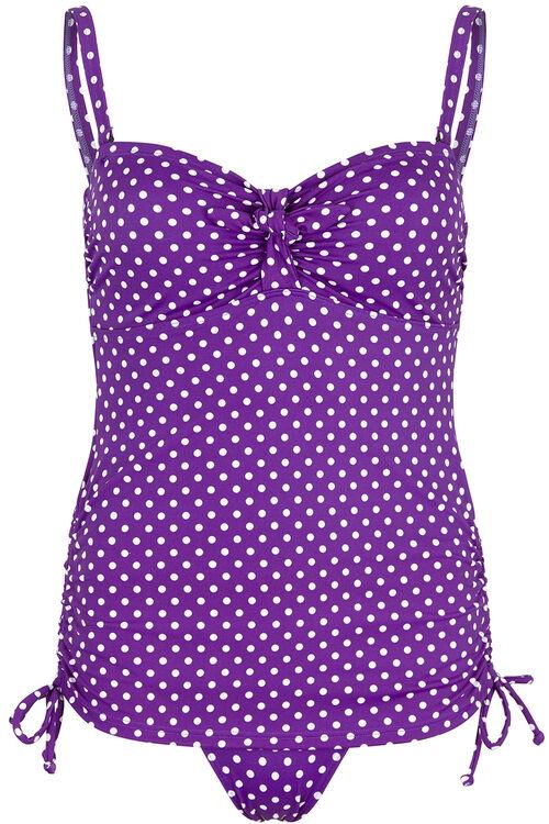 Purple Spot Mock Tankini Swimsuit