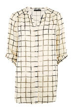 David Emanuel Check Print Longline Button Blouse