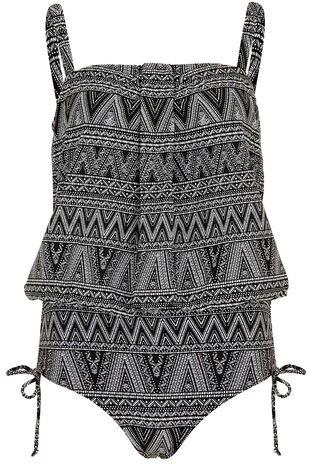 Tribal Print Blouson Swimsuit