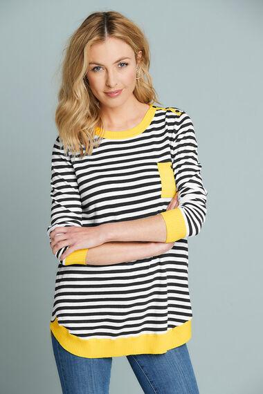 Stella Morgan Yellow Trim Stripe Jumper with Pocket