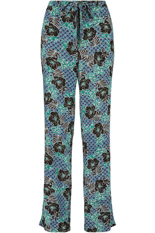 Textured Printed Tie Front Wide Leg Trousers