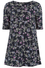 Floral Print Cotton Tunic Top