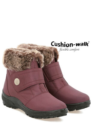 Cushion Walk Touch Fasten Faux  Fur Trim Ankle Boot
