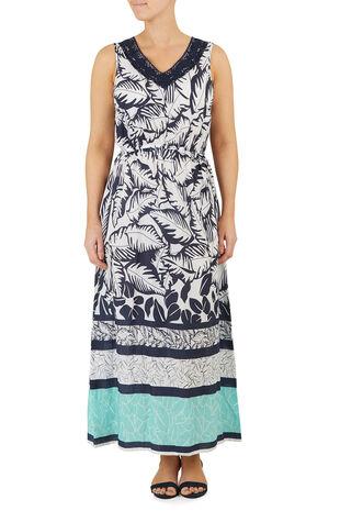Palm Border Crochet Spun Maxi Dress