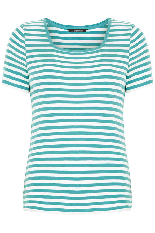 Square Neck Triple Stripe T-Shirt