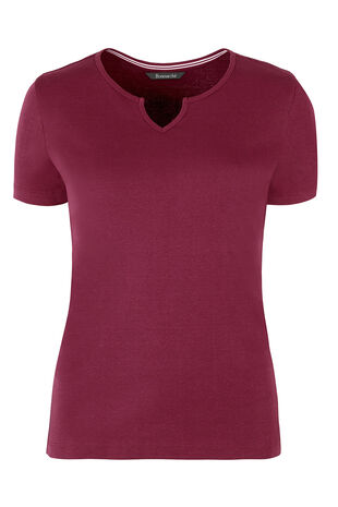 Basic Cotton Notch Neck T-Shirt