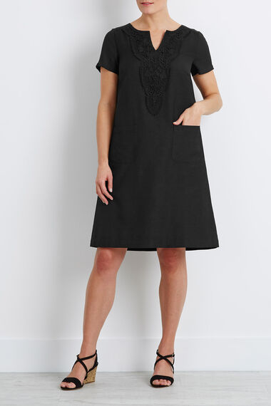 Crotchet Detail Linen Shift Dress