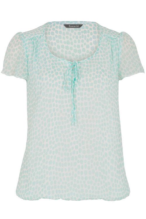 Spot Print Tie Front Blouse