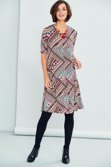 Zig Zag Patchwork Print Swing Dress