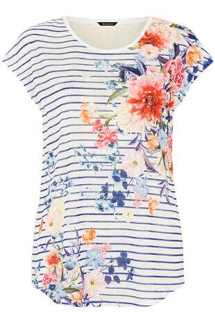 Navy Stripe Print T-Shirt