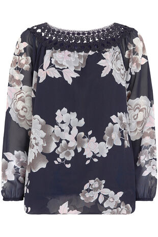 Lace Trim Floral Print Blouse