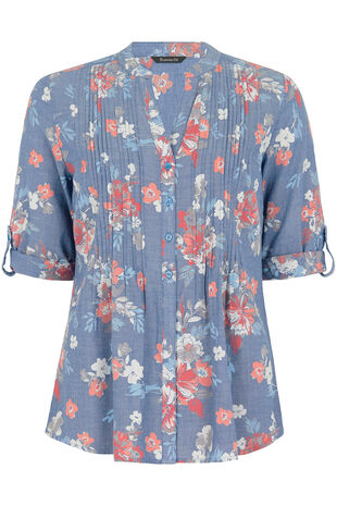3/4 Sleeve Floral Print Chambray Blouse