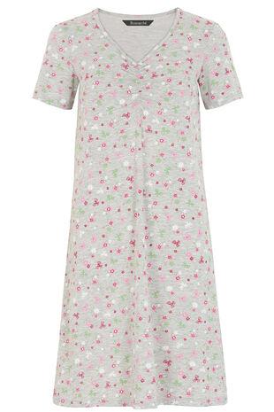 Ditsy Floral Grey Marl Nightshirt