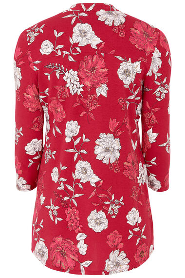Floral Printed Pintuck Jersey Top With Foil