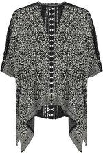 Short Sleeve Lace Detail Printed Kimono