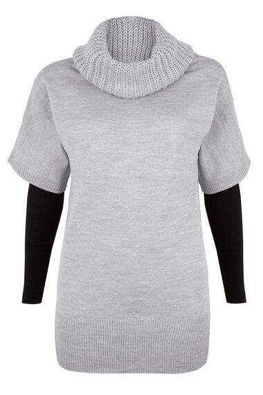 Mixed Gauge Cowl Neck Jumper