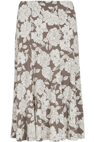 Linear Rose Printed Skirt