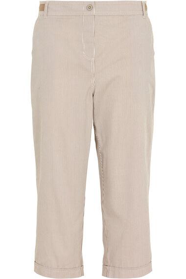 Stripe Print Cotton Cropped Trousers