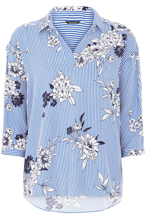 Floral And Stripe Print Shirt