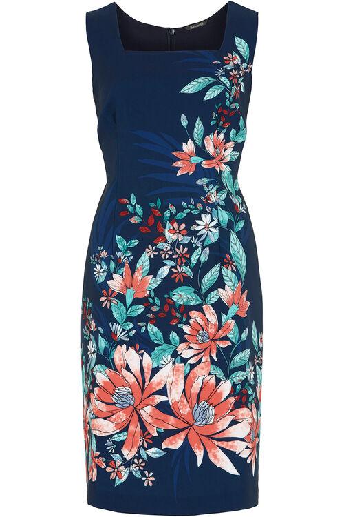 Floral Border Print Shift Dress