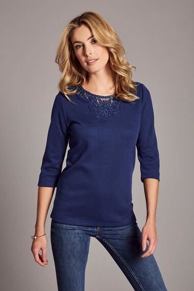 Lace Neckline Textured Rib T-Shirt