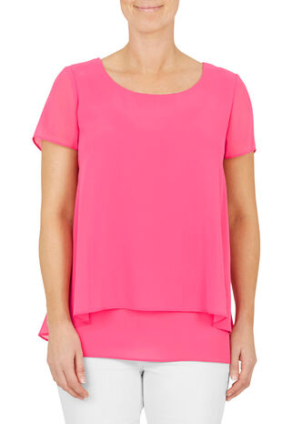 David Emanuel Short Sleeve Peplum Back Blouse