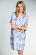 Check Woven Button Nightshirt