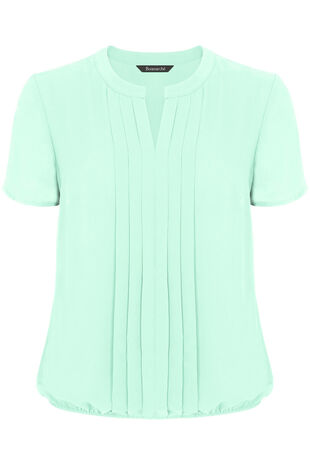 Plain Short Sleeve Pleat Front Blouse