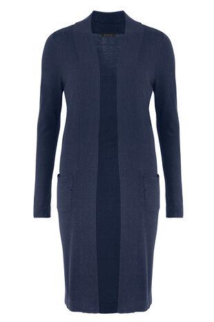 Longline Cardigan With Linen