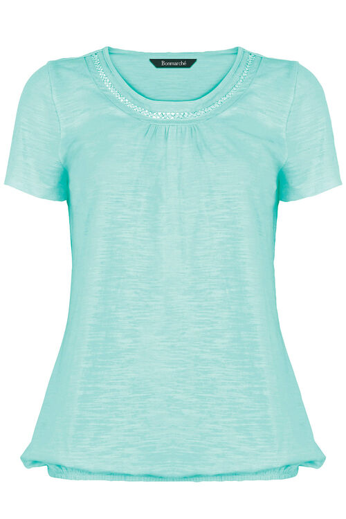 Elasticated Hem Lace Detail T-Shirt