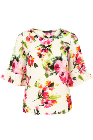 Ivory Floral Print Fluted Sleeve Top