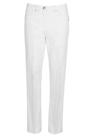 David Emanuel Embroidered White Jeans