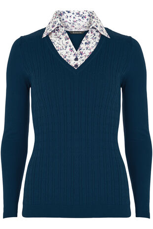 Cotton Cable Shirt Jumper
