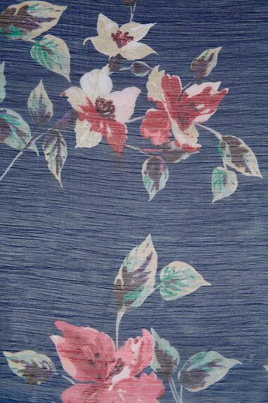 Navy Floral Chiffon Scarf