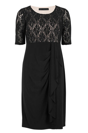 David Emanuel Lace Bodice Waterfall Jersey Dress