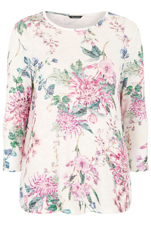 Floral Print Textured Sweat
