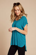 Short Sleeve Tile Print Top