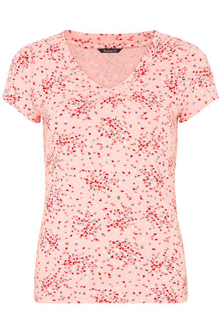 Confetti Print V-Neck Top