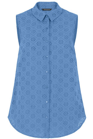 Embroidered Button Through Sleeveless Blouse