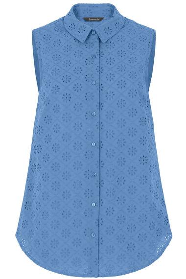 Embroidered Button Through Sleeveless Blouse