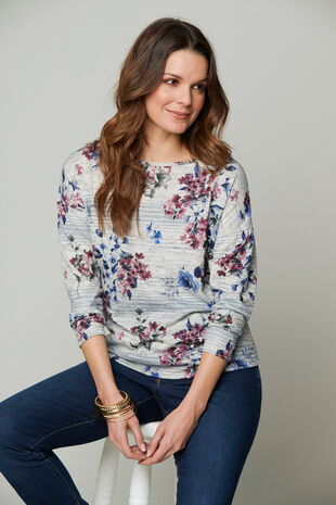 Floral & Stripe Printed Crew Neck Sweater
