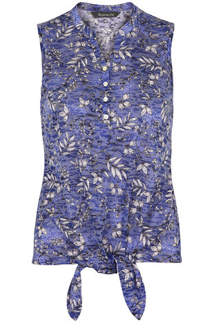 Printed Tie Front Sleeveless Jersey Top