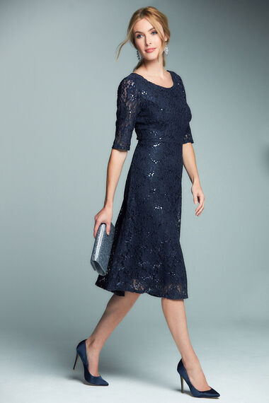 Short Sleeve Sequin Lace Dress